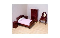 Melissa & Doug Classic Victorian Wooden and Upholstered Dollhouse Bedroom Furniture 6 pc Deal