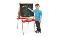 Melissa & Doug Deluxe Magnetic Standing Art Easel With Chalkboard, Dry-Erase Board, and 39 Letter and Number Magnets Deal