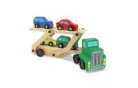 Melissa & Doug Car Carrier Truck and Cars Wooden Toy Set With 1 Truck and 4 Cars Deal