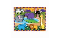 Melissa & Doug Wooden Chunky Puzzle Set - Wild Safari Animals and Shapes 16pc Deal