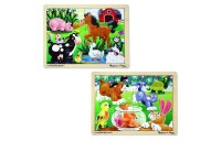 Melissa & Doug Animals Wooden Jigsaw Puzzles Set - Pets and Farm Life (24pc) Deal