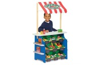 Melissa & Doug Wooden Grocery Store and Lemonade Stand - Reversible Awning, 9 Bins, Chalkboards Deal