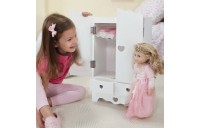 Melissa & Doug White Wooden Doll Armoire Closet With 2 Hangers (12 x 20 x 9 inches) Deal