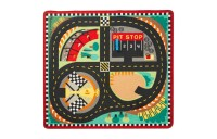 Melissa & Doug Round the Speedway Race Track Rug With 4 Race Cars (39 x 36 inches) Deal