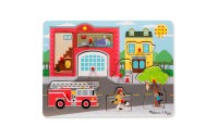 Melissa & Doug Around the Fire Station Sound Puzzle - Wooden Peg Puzzle (8pc) Deal