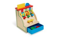Melissa & Doug Spin and Swipe Wooden Toy Cash Register With 3 Play Coins and Pretend Credit Card Deal