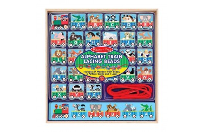 Melissa & Doug Alphabet Train Lacing Beads - 27 Wooden Train Beads, 6 Pattern Cards, and 1 Lace Deal