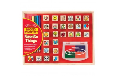 Melissa & Doug Wooden Stamp Set, Favorite Things - 26 Wooden Stamps, 4-Color Stamp Pad Deal