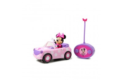"Jada Toys Disney Junior RC Minnie Bowtique Roadster Remote Control Vehicle 7"" Pink with White Polka Dots Deal"