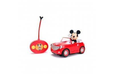 """Black Friday 2020 Jada Toys Disney Junior RC Mickey Mouse Club House Roadster Remote Control Vehicle 7"""" Glossy Red Deal"""