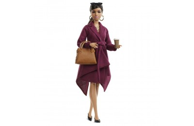 Black Friday 2020 Barbie Signature Styled By Chriselle Lim Collector Doll in Burgundy Trench Dress Deal