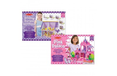 Black Friday 2020 Melissa And Doug Pretty Purple Dollhouse And Pink Palace 3D Puzzle 200pc Deal