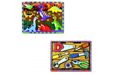 Black Friday 2020 Melissa & Doug Wooden Chunky Puzzles Set - Tools and Dinosaurs 14pc Deal
