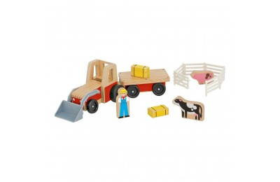Melissa & Doug Farm Tractor Wooden Vehicle Play Set (5pc) Deal