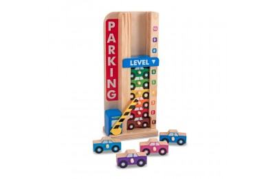 Black Friday 2020 Melissa & Doug Stack & ct Wooden Parking Garage With 10 Cars Deal