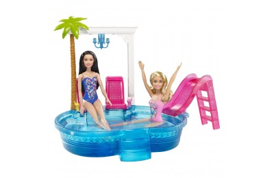 Barbie Glam Pool with Water Slide & Pool Accessories Deal