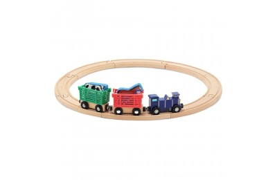 Melissa & Doug Farm Animal Wooden Train Set (12+pc) Deal