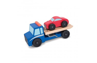 Melissa & Doug Flatbed Tow Truck Wooden Vehicle Set Deal