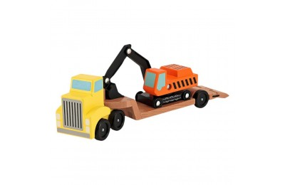 Melissa & Doug Trailer and Excavator Wooden Vehicle Set (3pc) Deal