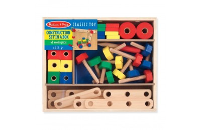 Melissa & Doug Wooden Construction Building Set in a Box (48pc) Deal