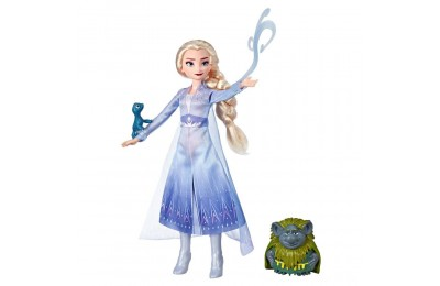 Disney Frozen 2 Elsa Fashion Doll In Travel Outfit With Pabbie and Salamander Figures Deal