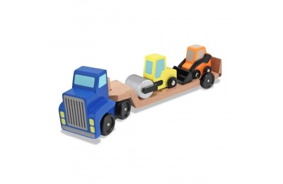 Black Friday 2020 Melissa & Doug Low Loader Wooden Vehicle Play Set - 1 Truck With 2 Chunky Construction Vehicles Deal