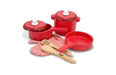 Melissa & Doug Deluxe Wooden Kitchen Accessory Set - Pots & Pans (8pc) Deal