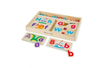 Melissa & Doug ABC Picture Boards - Educational Toy With 13 Double-Sided Wooden Boards and 52 Letters Deal