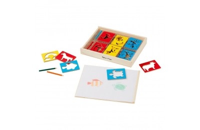 Melissa & Doug Wooden Stencil Set With 27 Themed Stencils and 4 Pencils Deal