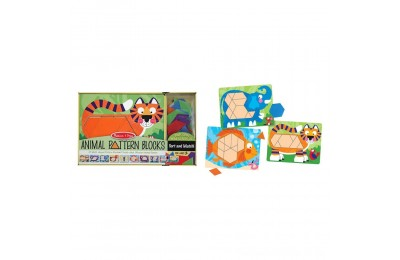 Melissa & Doug Animal Pattern Blocks Set With 5 Double-Sided Wooden Boards and 47 Multi-Shaped Blocks Deal