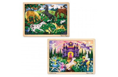 Melissa & Doug Wooden Jigsaw Puzzles Set - Fairy Princess Castle and Horses 2pc Deal