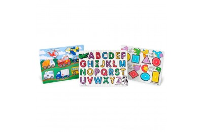Melissa & Doug Wooden Peg Puzzles Set - Alphabet, Vehicles, and Shapes 42pc Deal