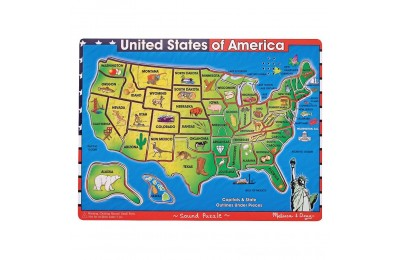 Black Friday 2020 Melissa & Doug USA Map Sound Puzzle - Wooden Peg Puzzle With Sound Effects (40pc) Deal