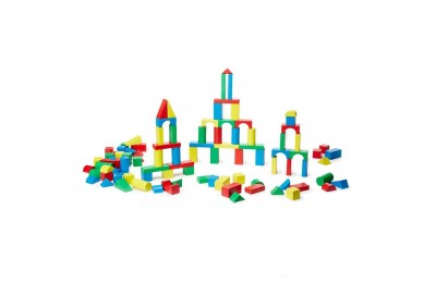 Melissa & Doug Wooden Building Block Set - 200 Blocks in 4 Colors and 9 Shapes Deal