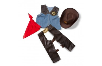 Black Friday 2020 Melissa & Doug Cowboy Role Play Costume Set (5pc) - Includes Faux Leather Chaps, Adult Unisex, Blue/Gold/Red Deal