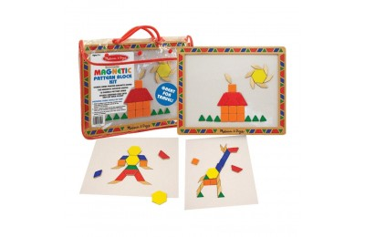 Melissa & Doug Deluxe Wooden Magnetic Pattern Blocks Set - Educational Toy With 120 Magnets and Carrying Case Deal