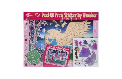 Melissa & Doug Peel and Press Sticker by Number Kit: Mystical Unicorn - 100+ Stickers, Jumbo Frame Deal