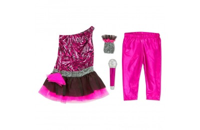 Melissa & Doug Rock Star Role Play Costume Set (4pc) - Includes Zebra-Print Dress, Microphone, Women's, Gold/Pink Deal