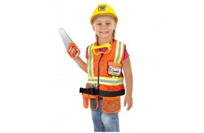 Melissa & Doug Construction Worker Role Play Costume Dress-Up Set (6pc), Adult Unisex, Size: Large, Gold/Orange/Yellow Deal