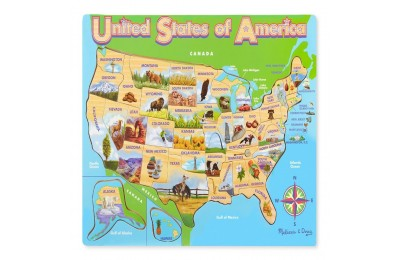 Melissa & Doug USA Map Wooden Jigsaw Puzzle 45pc Deal