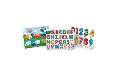 Black Friday 2020 Melissa & Doug Wooden Peg Puzzles Set - Alphabet, Numbers, and Vehicles 44pc Deal