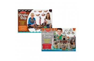 Melissa And Doug Pirate Ship And Medieval Castle 3D Puzzle 200pc Deal