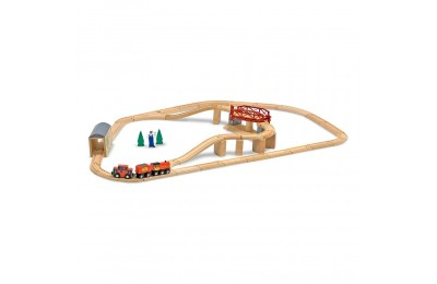 Melissa & Doug Swivel Bridge Wooden Train Set (47pc) Deal