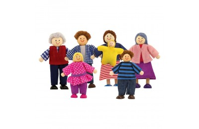 Melissa & Doug 7-Piece Poseable Wooden Doll Family for Dollhouse (2-4 inches each) Deal