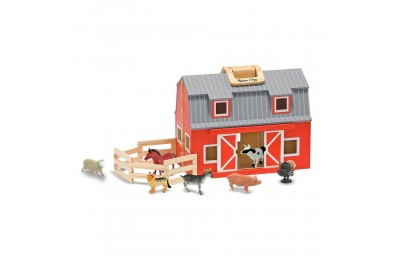Melissa & Doug Fold and Go Wooden Barn Play Set - 10pc Deal