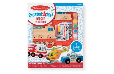 Melissa & Doug Decorate-Your-Own Wooden Rescue Vehicles Craft Kit - Police Car, Fire Truck, Helicopter Deal