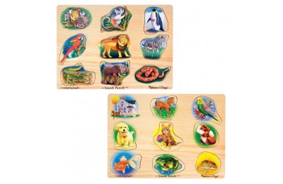 Melissa & Doug Sound Puzzles Set: Pets and Wild Animals Wooden Peg Puzzles 2pc Deal