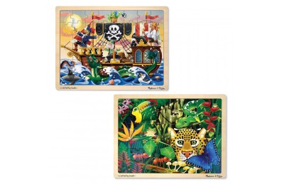 Melissa & Doug Wooden Jigsaw Puzzles Set - Rainforest Animals and Pirate Ship 2pc Deal