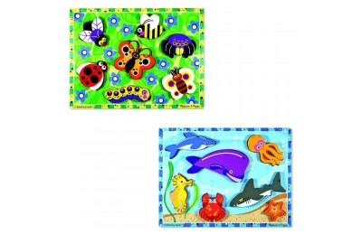 Black Friday 2020 Melissa & Doug Wooden Chunky Puzzles Set - Ocean Animals and Insects 14pc Deal