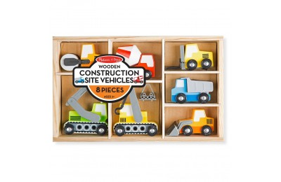Melissa & Doug Wooden Construction Site Vehicles With Wooden Storage Tray (8pc) Deal